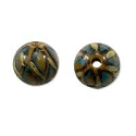 Hand Painted Glass Round Tortoise Shell Bead 10mm (2-Pcs)