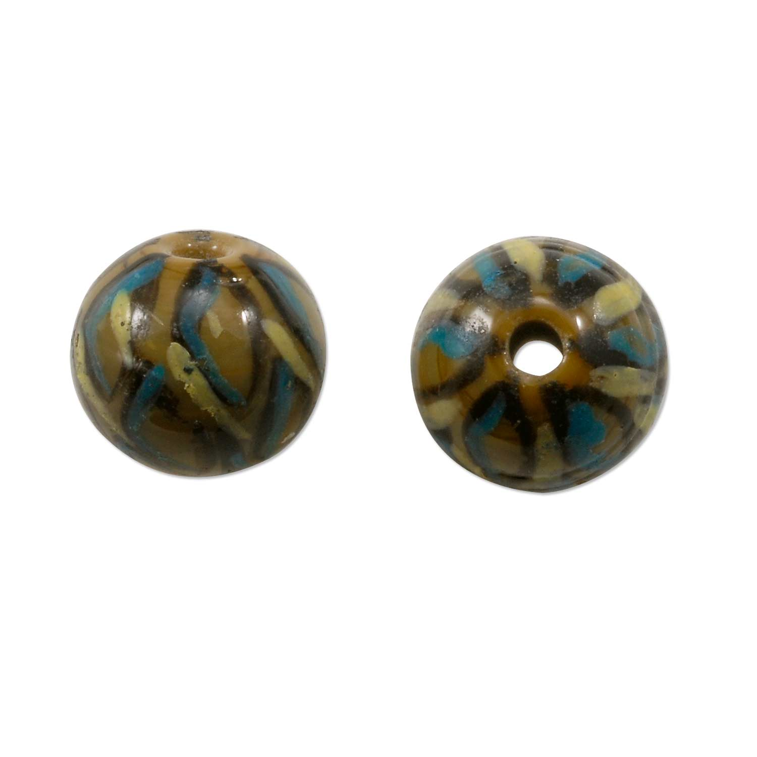 painted glass tortoise shell bead 10mm