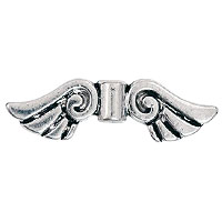 Angel Wings Bead 26x8mm Pewter Antique Silver Plated (2-Pc)