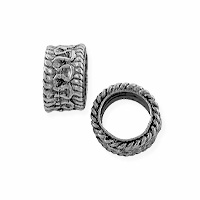 Large Hole Spacer Bead 8x5mm Pewter Antique Silver Plated (1-Pc)