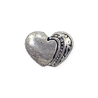 Puffy Heart Bead 7x9mm Pewter Silver Plated (1-Pc)