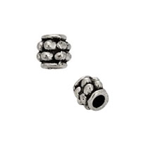 Stacked Flower Heishi Bead 4mm Pewter Antique Silver Plated (10-Pcs)
