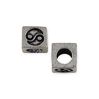 Yin Yang Cube Bead 5mm Pewter Antique Silver Plated (1-Pc)