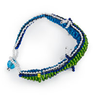 Adjustable Double Sided Lime/Blue Gecko Bracelet