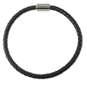 Braided Rubber Bracelet 4mm Black with Stainless Steel Magnetic Twist Clasp 8