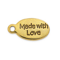 Made with Love Tag 6x11mm Gold Plated Pewter (5-Pcs)