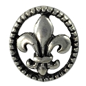 Fleur de Lis 17x15mm Button Pewter Antique Silver Plated (1-Pc)