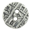 TierraCast Coin Button 17.5mm Round Pewter Antique Silver Plated (1-Pc)