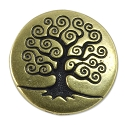 TierraCast Tree of Life Button 15.5mm Pewter Antique Brass Plated (1-Pc)
