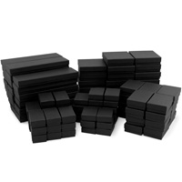 Matte Black Paper Jewelry Box Mix #B99 (Case of 100)