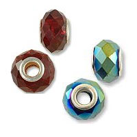 Faceted Glass Large Hole Beads with Grommet
