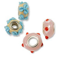 Lampwork Large Hole Glass Beads with Grommet