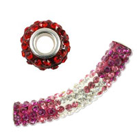 Rhinestone Large Hole Glass Beads with Grommet