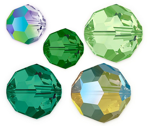 Green Round Crystal Beads
