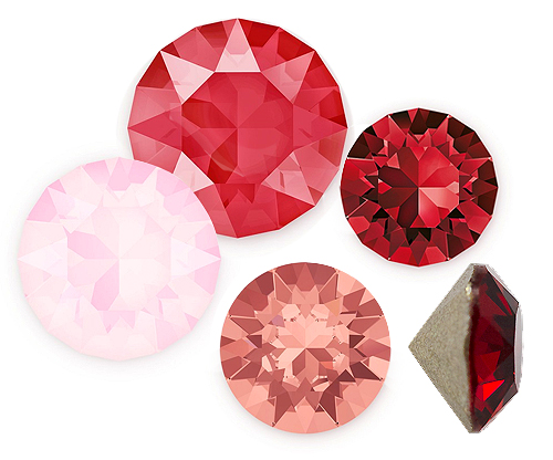 Red and Pink Crystal Point Back Rhinestones