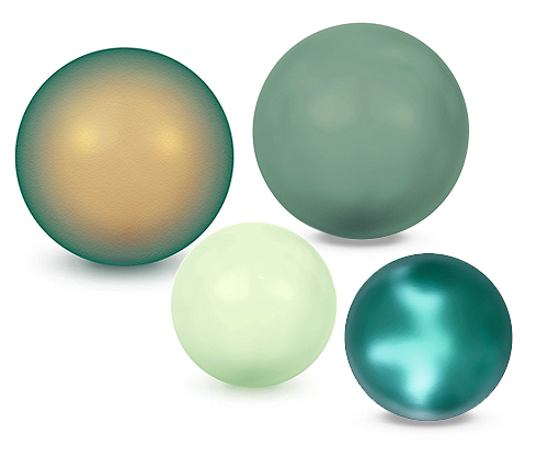 Green Round Crystal Pearls