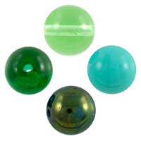 Green Pressed Round Beads