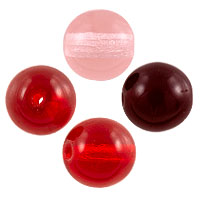 Red and Pink Pressed Round Beads