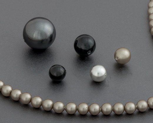 Black and Silver Round Pearls