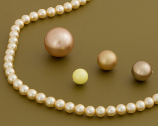 Yellow, Brown and Gold Round Crystal Pearls