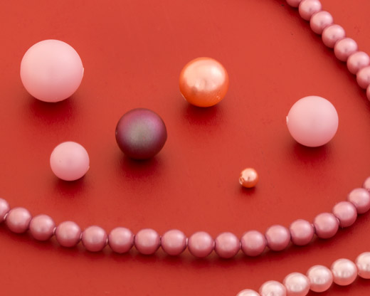 Pink and Red Round Pearls