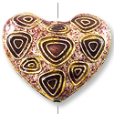 Handmade Cloisonne Heart Bead 24x27mm Purple and Red (1-Pc)