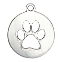 Dog Paw Charm 17mm Sterling Silver (1-Pc)