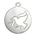 Dove Charm 17mm Sterling Silver (1-Pc)