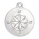 Compass Charm 17mm Sterling Silver (1-Pc)