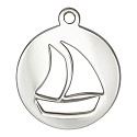 Sailboat Charm 17mm Sterling Silver (1-Pc)