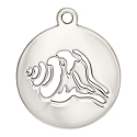 Seashell Charm 17mm Sterling Silver (1-Pc)