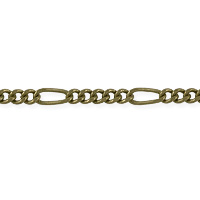 Figaro Long and Short Chain 6x2.5mm Antique Brass Plated (Priced per Foot)