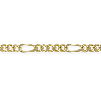 Figaro Long and Short Chain 6x2.5mm Gold Plated (Priced per Foot)