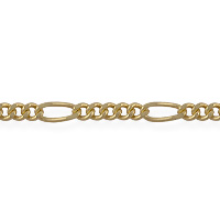 Figaro Long and Short Chain 6x2.5mm Satin Hamilton Gold Plated (Priced per Foot)