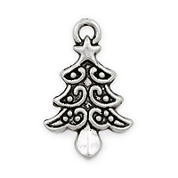 Christmas Tree Pewter Charm 21x13mm (1-Pc)
