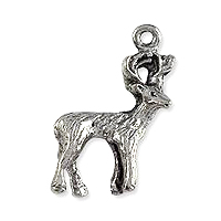 Deer Charm 25x15mm Pewter Antique Silver Plated (1-Pc)