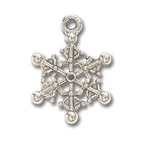 Charm - Snowflake 16x15mm Pewter Antique Silver Plated (1-Pc)