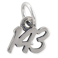 143 (I Love You) Charm 9x9mm Sterling Silver (1-Pc)