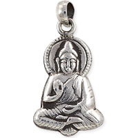 Tibetan Charm Buddha 23x14mm Sterling Silver (1-Pc)