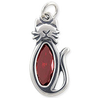 Cat Charm with Red Cubic Zirconia 22x10mm Sterling Silver (1-Pc)