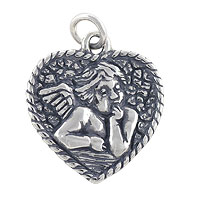 Angel Charm - 18.5x17mm Sterling Silver (1-Pc)