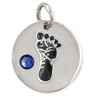 December Footprint Charm with Blue Zircon Rhinestone 14mm Sterling Silver (1-Pc)