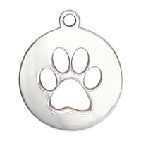 Dog Paw Charm 19.5x16.5mm Sterling Silver (1-Pc)