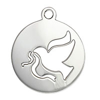 Dove Charm 19.5x16.5mm Sterling Silver (1-Pc)