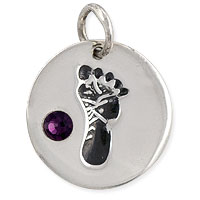 February Footprint Charm with Amethyst Rhinestone 14mm Sterling Silver (1-Pc)