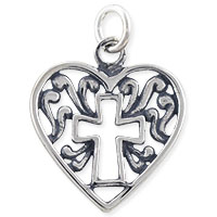 Filigree Cross Heart Charm 18x16mm Sterling Silver (1-Pc)