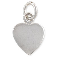 Blank Heart Charm 21x16mm Sterling Silver (1-Pc)