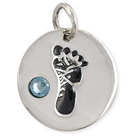 March Footprint Charm with Aquamarine Rhinestone 14mm Sterling Silver (1-Pc)