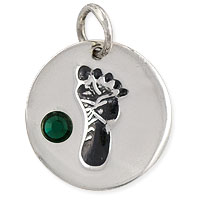 May Footprint Charm with Emerald Rhinestone 14mm Sterling Silver (1-Pc)