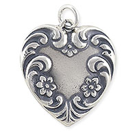 Fancy Heart Charm 20x18mm Sterling Silver (1-Pc)